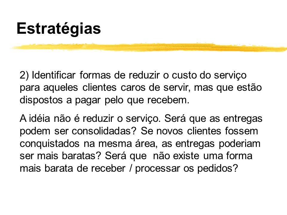 2) Identificar formas de reduzir o custo do serviço para aqueles clientes caros de servir, mas que estão dispostos a pagar pelo que recebem. A idéia n