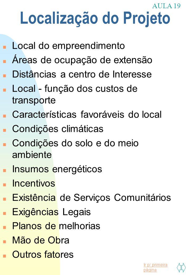 Ir p/ primeira página Localização do Projeto n Local do empreendimento n Áreas de ocupação de extensão n Distâncias a centro de Interesse n Local - fu