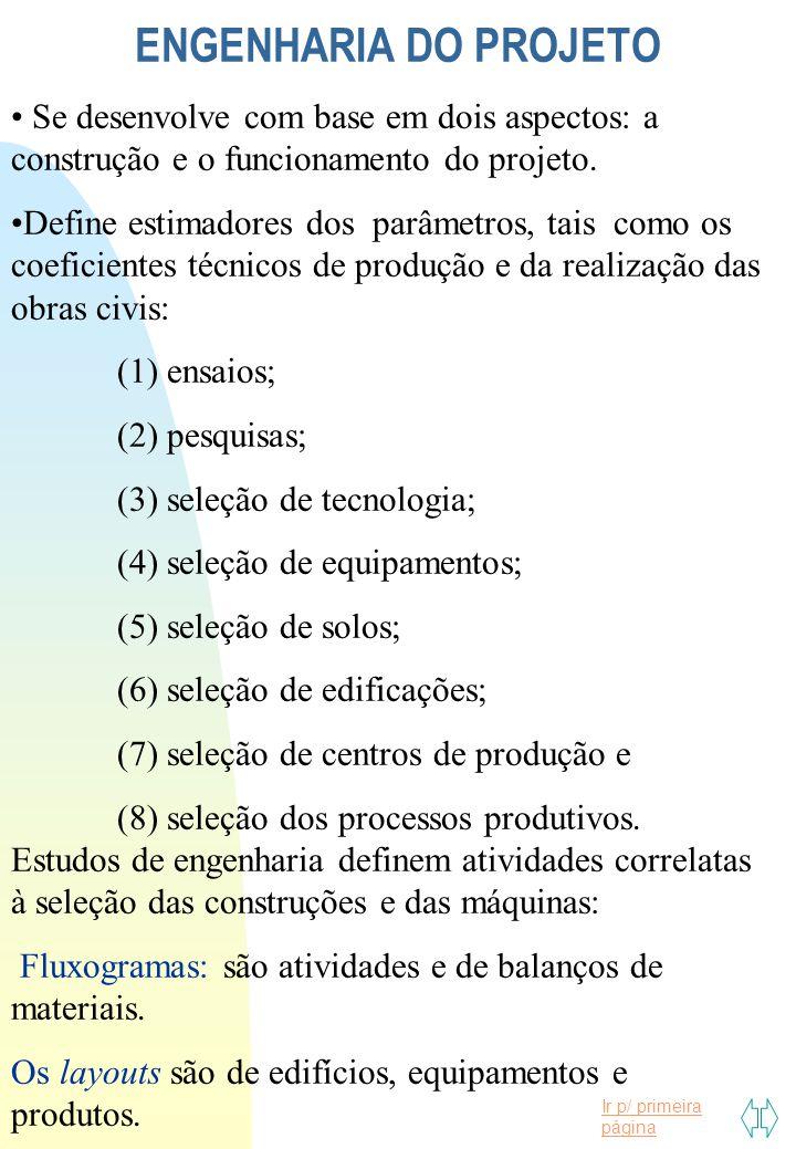 Ir p/ primeira página ENGENHARIA DO PROJETO Se desenvolve com base em dois aspectos: a construção e o funcionamento do projeto. Define estimadores dos