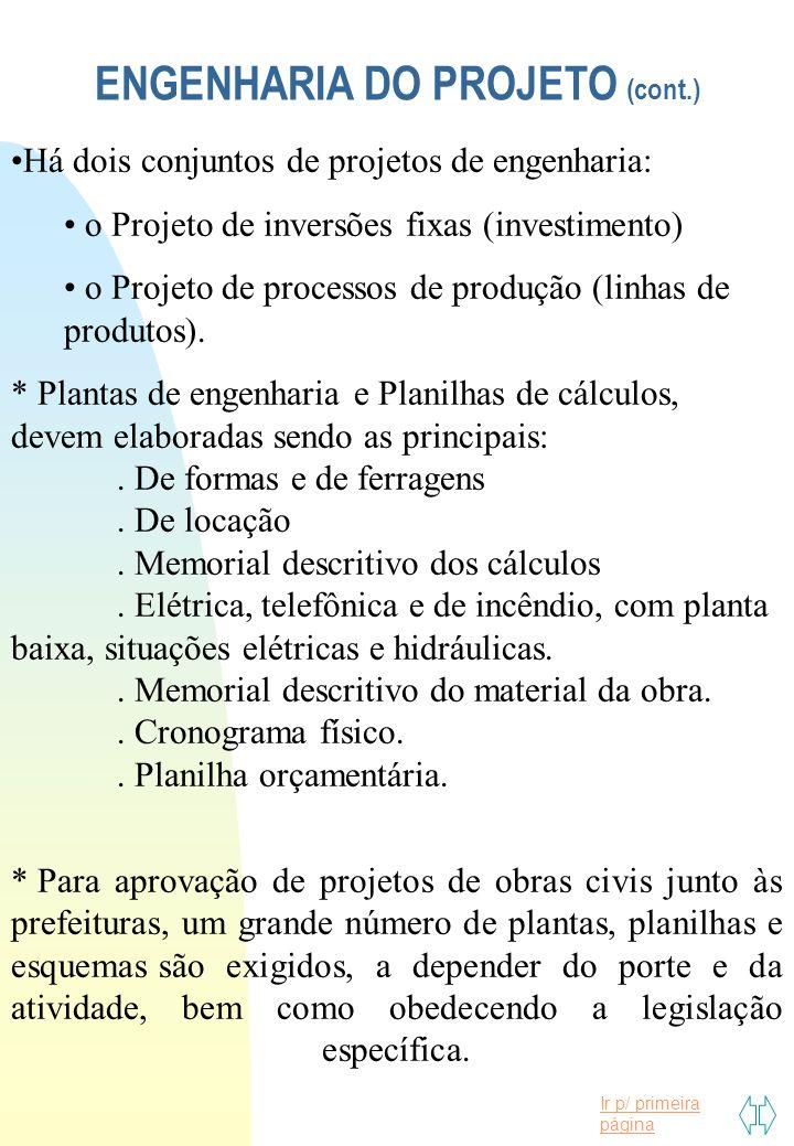 Ir p/ primeira página ENGENHARIA DO PROJETO (cont.) Há dois conjuntos de projetos de engenharia: o Projeto de inversões fixas (investimento) o Projeto