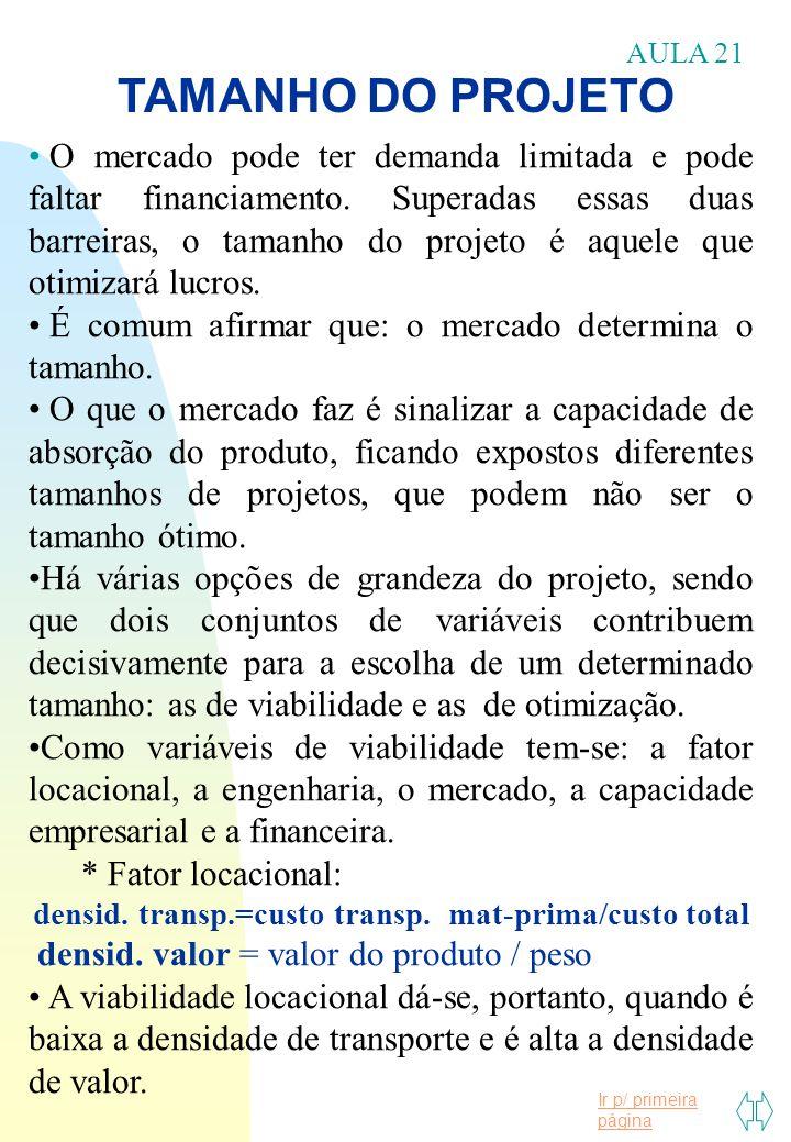 Ir p/ primeira página TAMANHO DO PROJETO AULA 21 O mercado pode ter demanda limitada e pode faltar financiamento. Superadas essas duas barreiras, o ta
