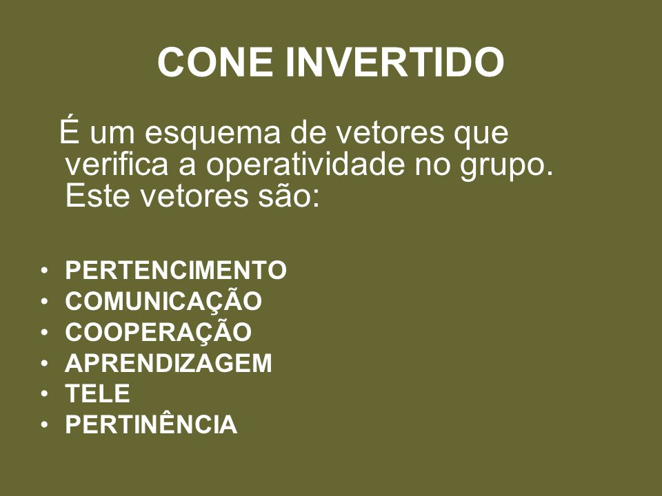 CONE INVERTIDO É um esquema de vetores que verifica a operatividade no grupo. Este vetores são: PERTENCIMENTO COMUNICAÇÃO COOPERAÇÃO APRENDIZAGEM TELE