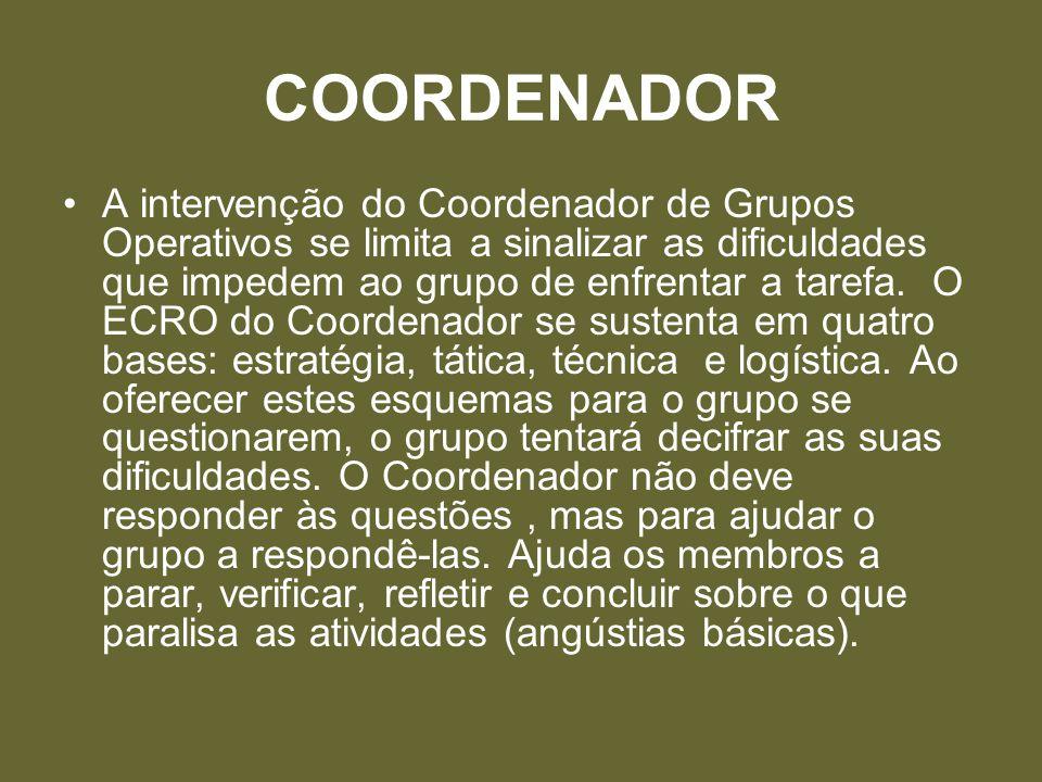 COORDENADOR A intervenção do Coordenador de Grupos Operativos se limita a sinalizar as dificuldades que impedem ao grupo de enfrentar a tarefa. O ECRO