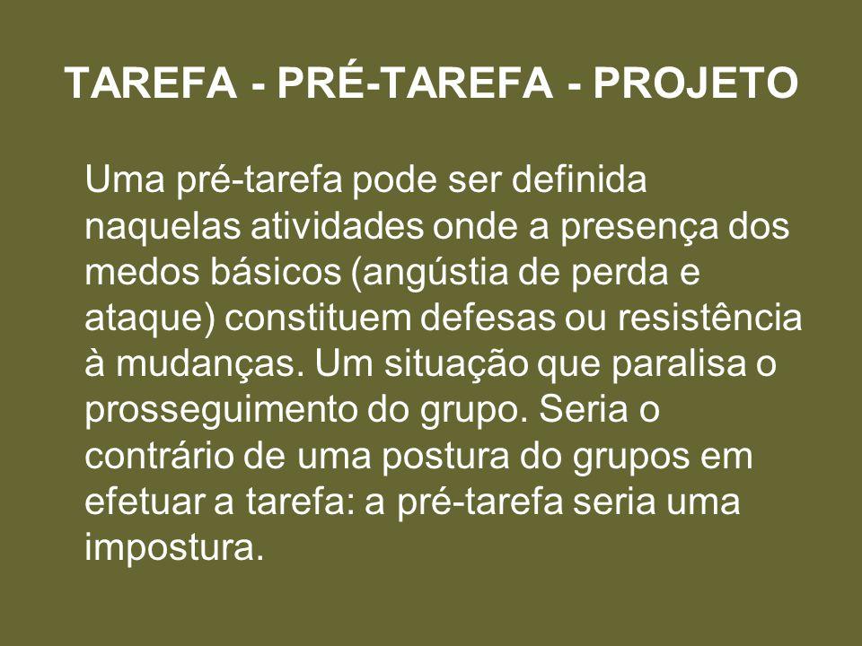TAREFA - PRÉ-TAREFA - PROJETO Uma pré-tarefa pode ser definida naquelas atividades onde a presença dos medos básicos (angústia de perda e ataque) constituem defesas ou resistência à mudanças.