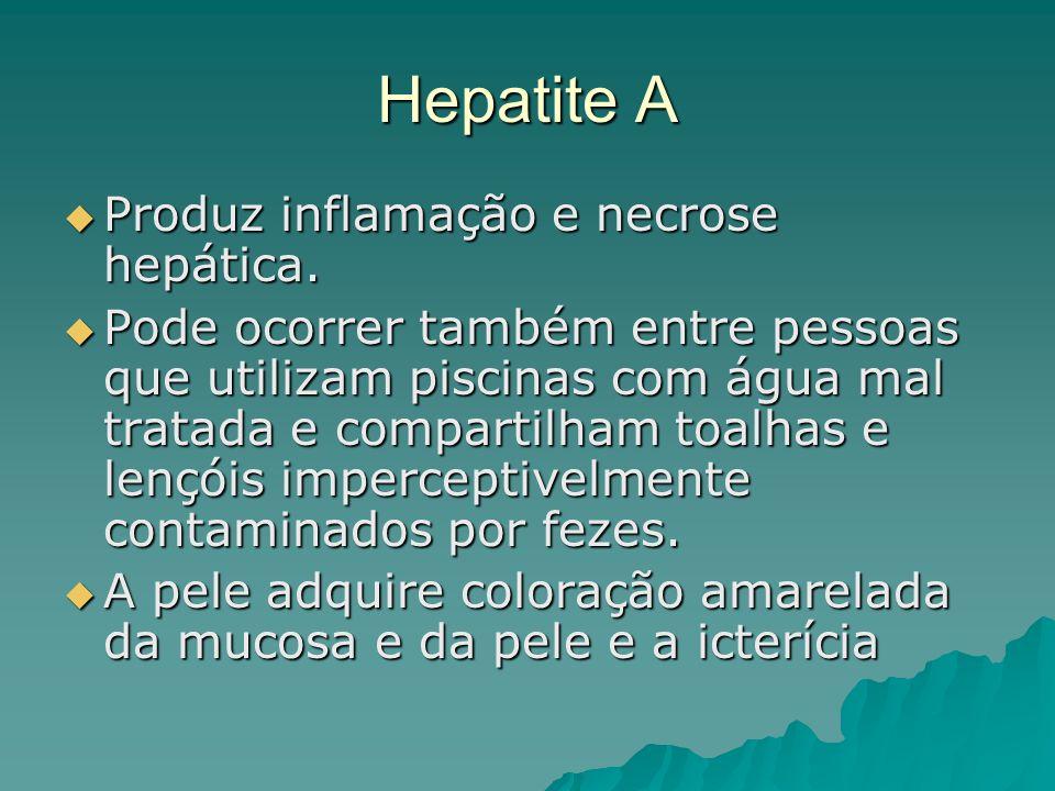 Hepatite A Produz inflamação e necrose hepática. Produz inflamação e necrose hepática. Pode ocorrer também entre pessoas que utilizam piscinas com águ