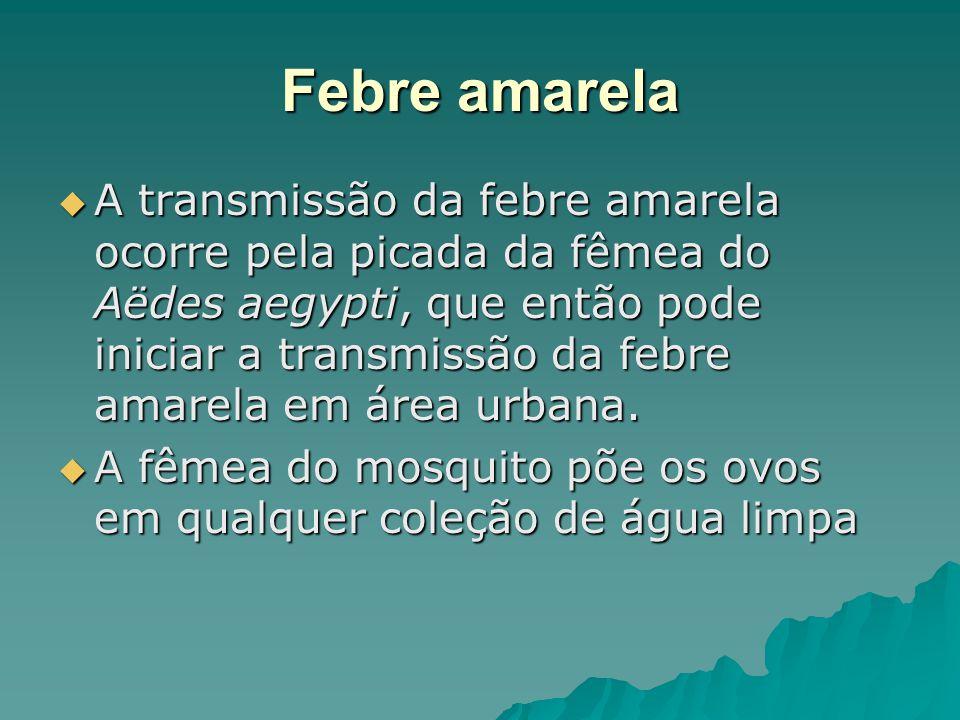 Febre amarela A transmissão da febre amarela ocorre pela picada da fêmea do Aëdes aegypti, que então pode iniciar a transmissão da febre amarela em ár
