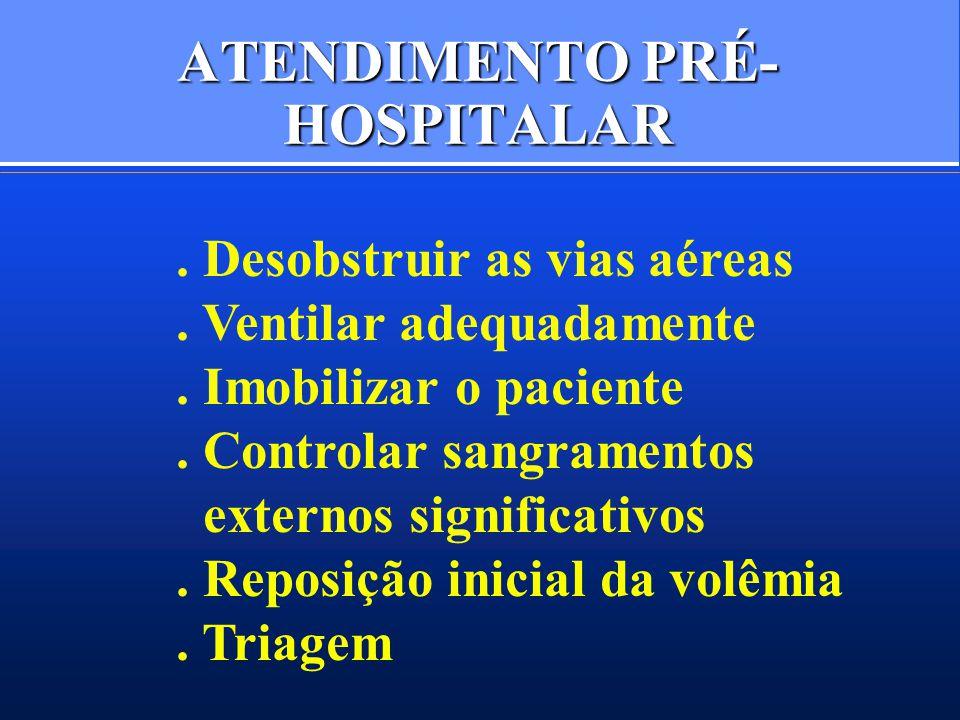 ATENDIMENTO PRÉ- HOSPITALAR. Desobstruir as vias aéreas. Ventilar adequadamente. Imobilizar o paciente. Controlar sangramentos externos significativos