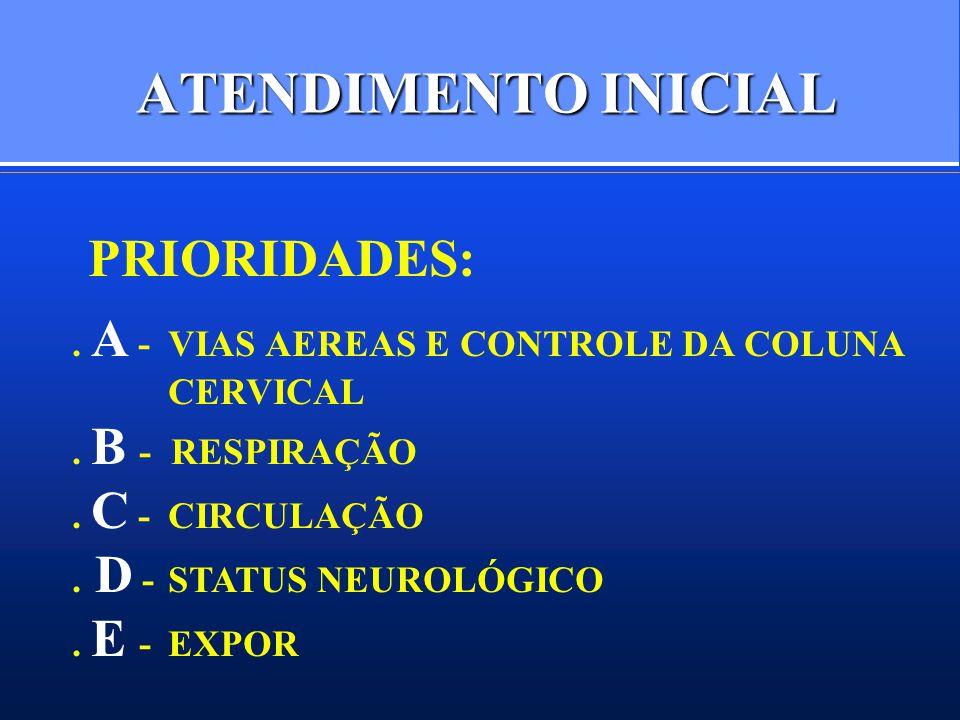 ATENDIMENTO INICIAL. A - VIAS AEREAS E CONTROLE DA COLUNA CERVICAL. B - RESPIRAÇÃO. C -CIRCULAÇÃO. D -STATUS NEUROLÓGICO. E - EXPOR PRIORIDADES: