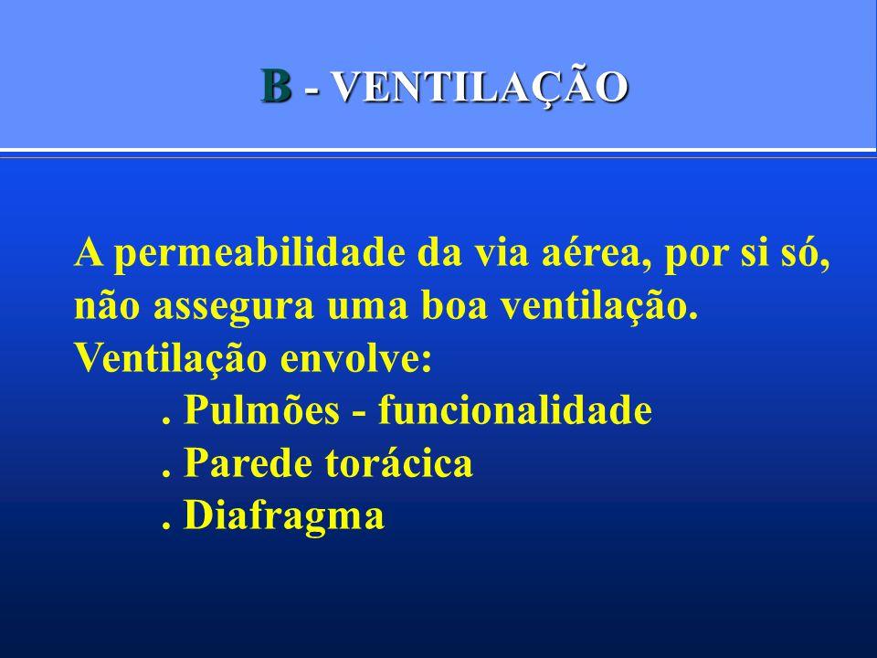 B - VENTILAÇÃO A permeabilidade da via aérea, por si só, não assegura uma boa ventilação. Ventilação envolve:. Pulmões - funcionalidade. Parede toráci