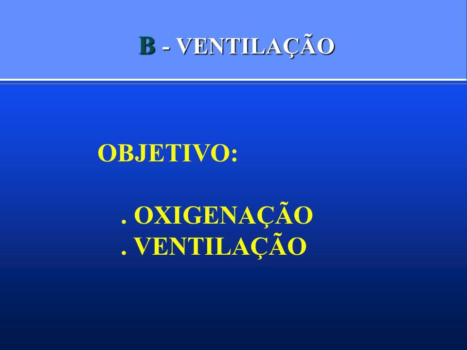 B - VENTILAÇÃO OBJETIVO:. OXIGENAÇÃO. VENTILAÇÃO