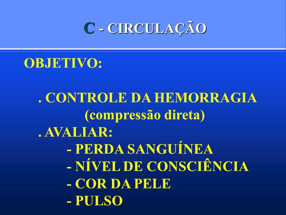C - CIRCULAÇÃO OBJETIVO:. CONTROLE DA HEMORRAGIA (compressão direta). AVALIAR: - PERDA SANGUÍNEA - NÍVEL DE CONSCIÊNCIA - COR DA PELE - PULSO