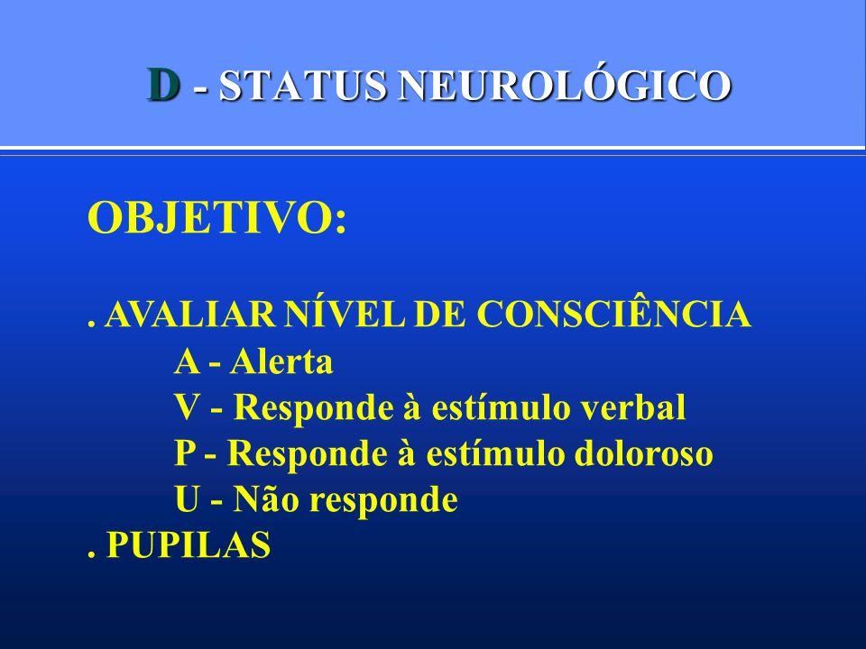 D - STATUS NEUROLÓGICO OBJETIVO:. AVALIAR NÍVEL DE CONSCIÊNCIA A - Alerta V - Responde à estímulo verbal P - Responde à estímulo doloroso U - Não resp