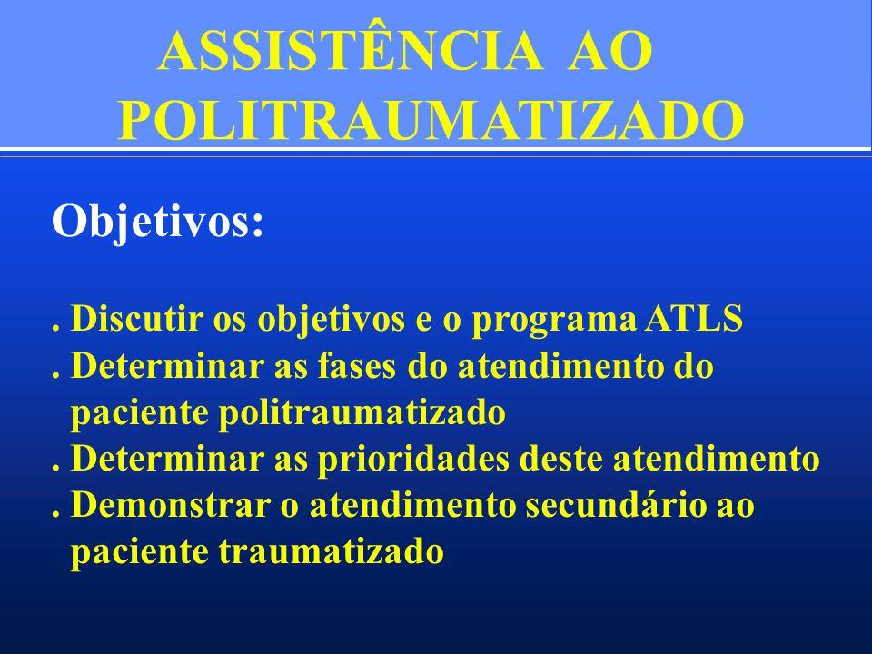 ASSISTÊNCIA AO POLITRAUMATIZADO Objetivos:. Discutir os objetivos e o programa ATLS. Determinar as fases do atendimento do paciente politraumatizado.
