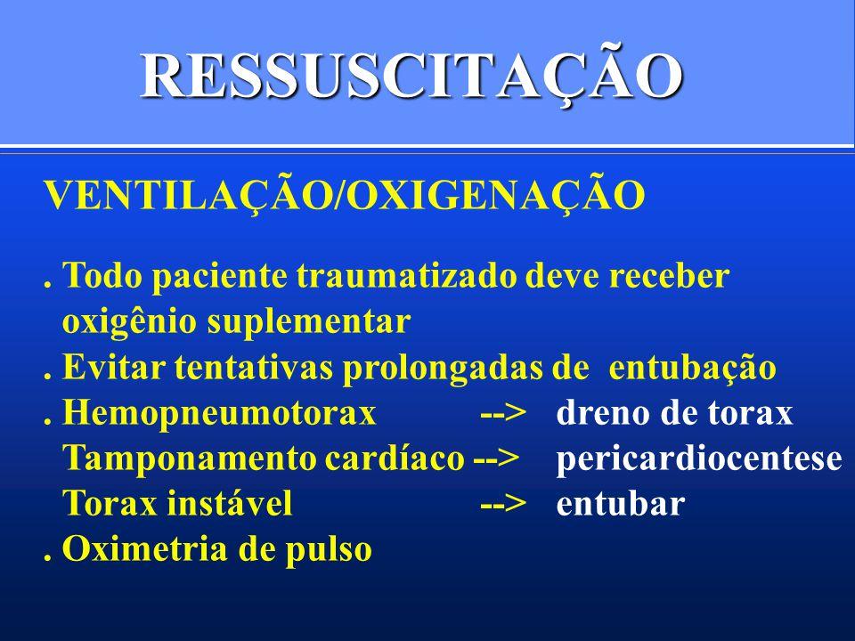 RESSUSCITAÇÃO VENTILAÇÃO/OXIGENAÇÃO. Todo paciente traumatizado deve receber oxigênio suplementar. Evitar tentativas prolongadas de entubação. Hemopne