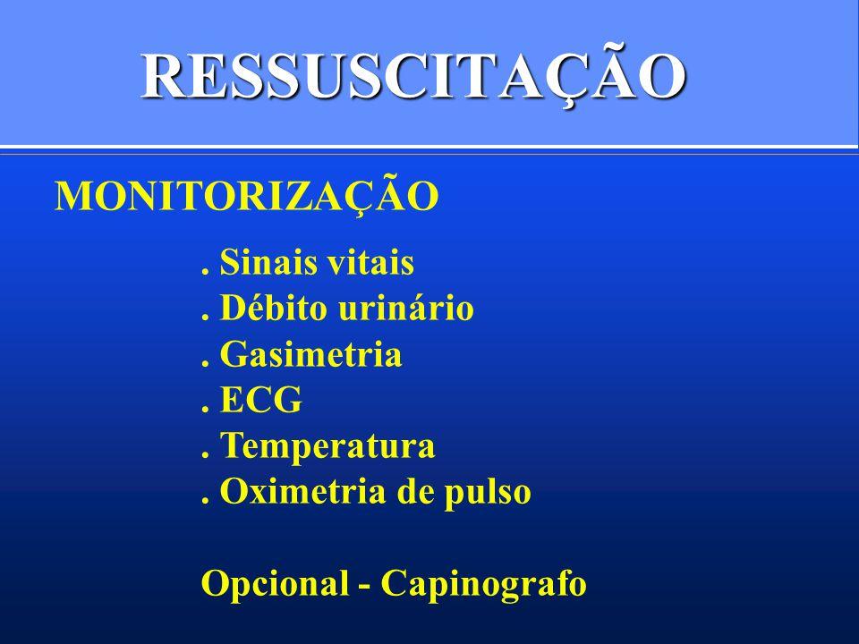 RESSUSCITAÇÃO MONITORIZAÇÃO. Sinais vitais. Débito urinário. Gasimetria. ECG. Temperatura. Oximetria de pulso Opcional - Capinografo