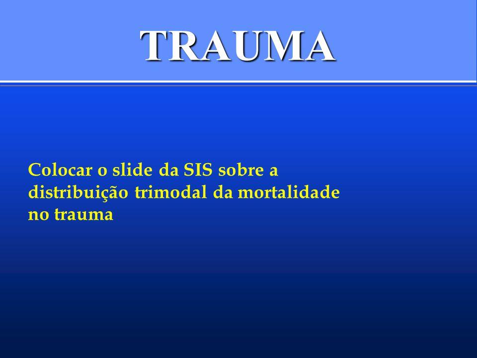 TRAUMA DISTRIBUIÇÃO (TRIMODAL):DISTRIBUIÇÃO (TRIMODAL): –INSTANTÂNEA À ALGUNS MINUTOS –ALGUNS MINUTOS ÀS PRIMEIRAS HORAS –TARDIA (DIAS OU SEMANAS APÓS) MORTALIDADE: