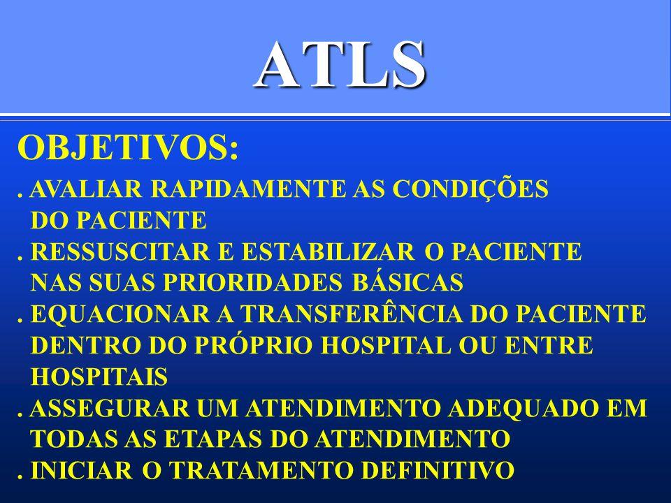 ATLS. AVALIAR RAPIDAMENTE AS CONDIÇÕES DO PACIENTE. RESSUSCITAR E ESTABILIZAR O PACIENTE NAS SUAS PRIORIDADES BÁSICAS. EQUACIONAR A TRANSFERÊNCIA DO P