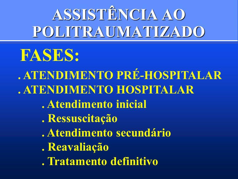 ASSISTÊNCIA AO POLITRAUMATIZADO FASES:. ATENDIMENTO PRÉ-HOSPITALAR. ATENDIMENTO HOSPITALAR. Atendimento inicial. Ressuscitação. Atendimento secundário