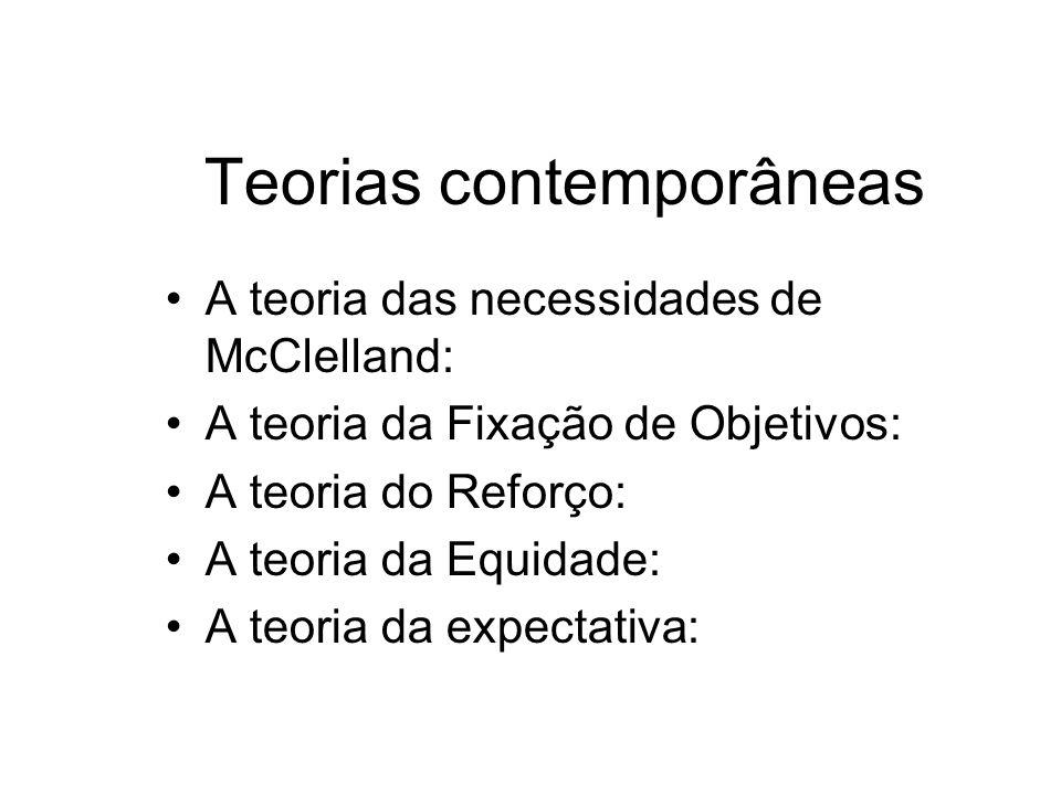 Teorias contemporâneas A teoria das necessidades de McClelland: A teoria da Fixação de Objetivos: A teoria do Reforço: A teoria da Equidade: A teoria