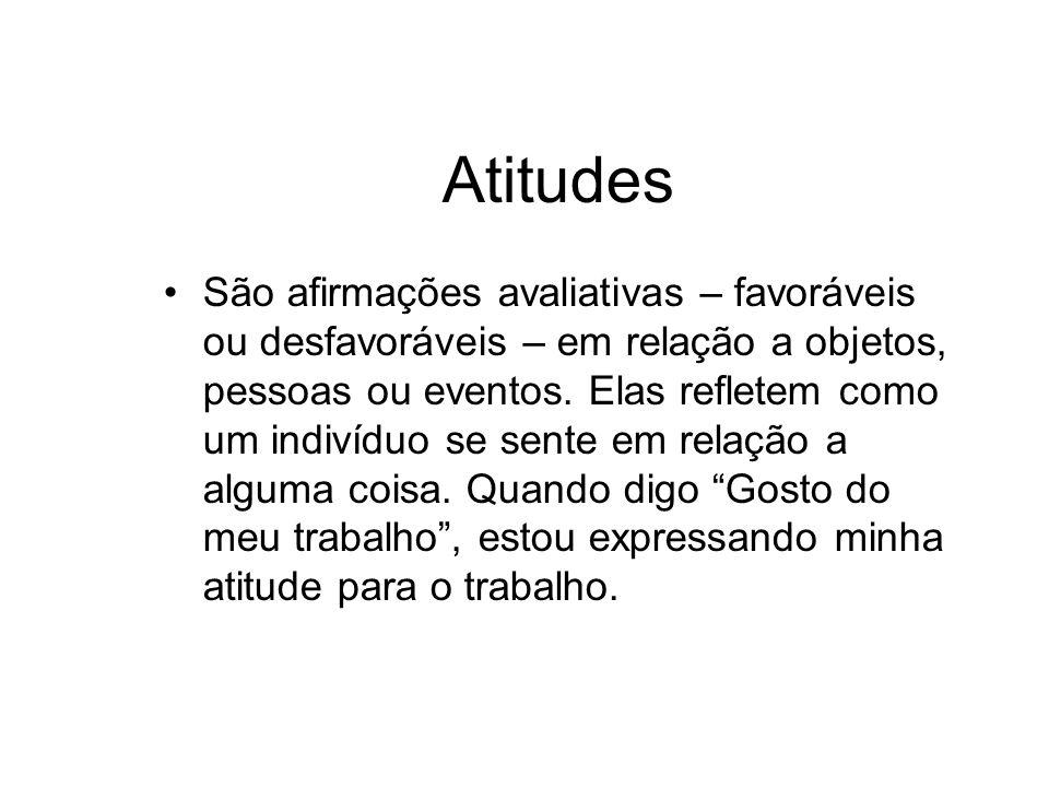 Atitudes São afirmações avaliativas – favoráveis ou desfavoráveis – em relação a objetos, pessoas ou eventos. Elas refletem como um indivíduo se sente