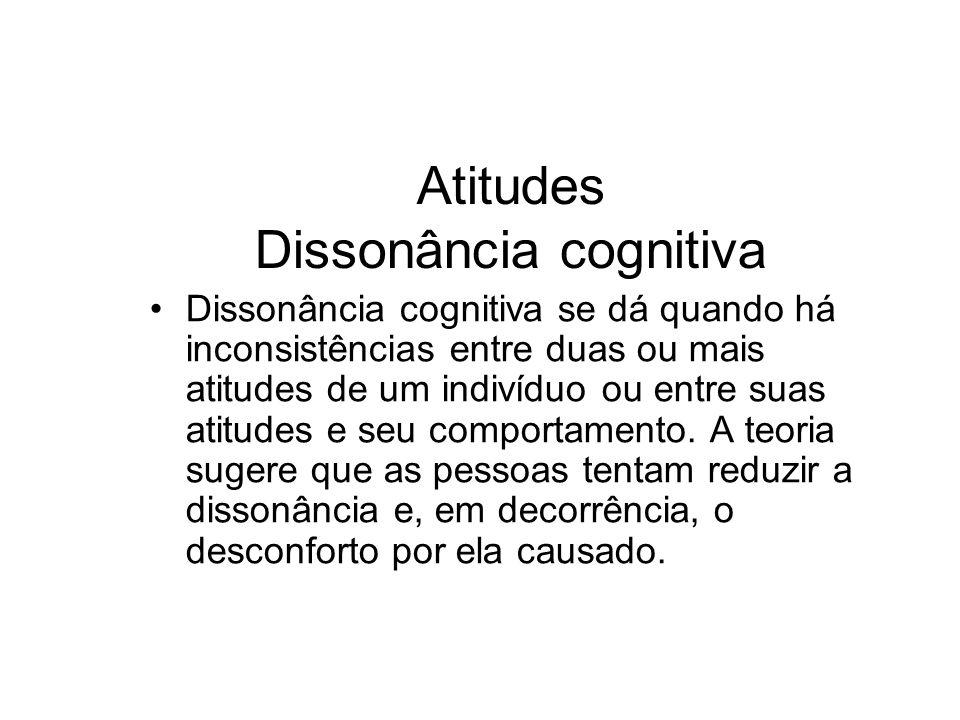 Atitudes Dissonância cognitiva Dissonância cognitiva se dá quando há inconsistências entre duas ou mais atitudes de um indivíduo ou entre suas atitude