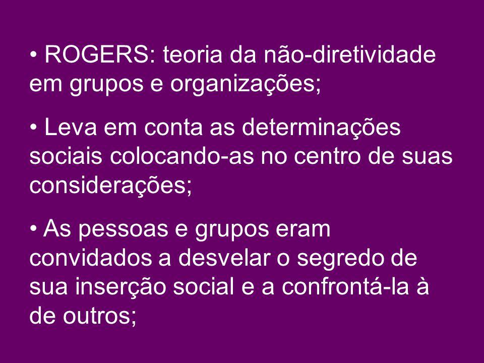 ROGERS: teoria da não-diretividade em grupos e organizações; Leva em conta as determinações sociais colocando-as no centro de suas considerações; As pessoas e grupos eram convidados a desvelar o segredo de sua inserção social e a confrontá-la à de outros;