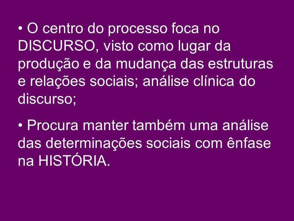 O centro do processo foca no DISCURSO, visto como lugar da produção e da mudança das estruturas e relações sociais; análise clínica do discurso; Procura manter também uma análise das determinações sociais com ênfase na HISTÓRIA.