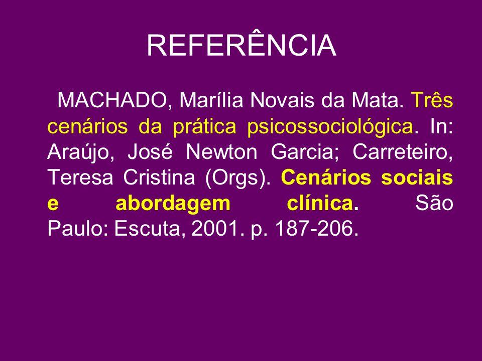 REFERÊNCIA MACHADO, Marília Novais da Mata.Três cenários da prática psicossociológica.