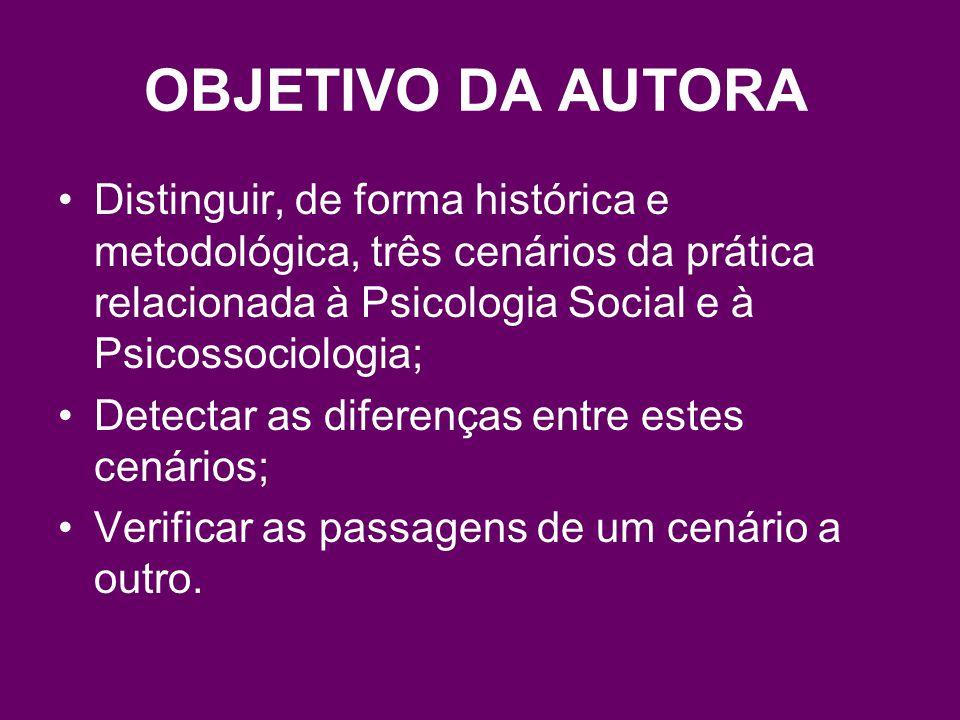 OBJETIVO DA AUTORA Distinguir, de forma histórica e metodológica, três cenários da prática relacionada à Psicologia Social e à Psicossociologia; Detectar as diferenças entre estes cenários; Verificar as passagens de um cenário a outro.