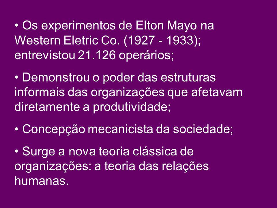 Os experimentos de Elton Mayo na Western Eletric Co.