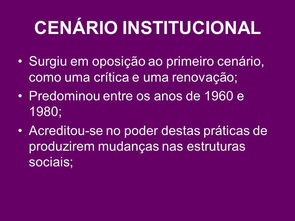 CENÁRIO INSTITUCIONAL Surgiu em oposição ao primeiro cenário, como uma crítica e uma renovação; Predominou entre os anos de 1960 e 1980; Acreditou-se no poder destas práticas de produzirem mudanças nas estruturas sociais;