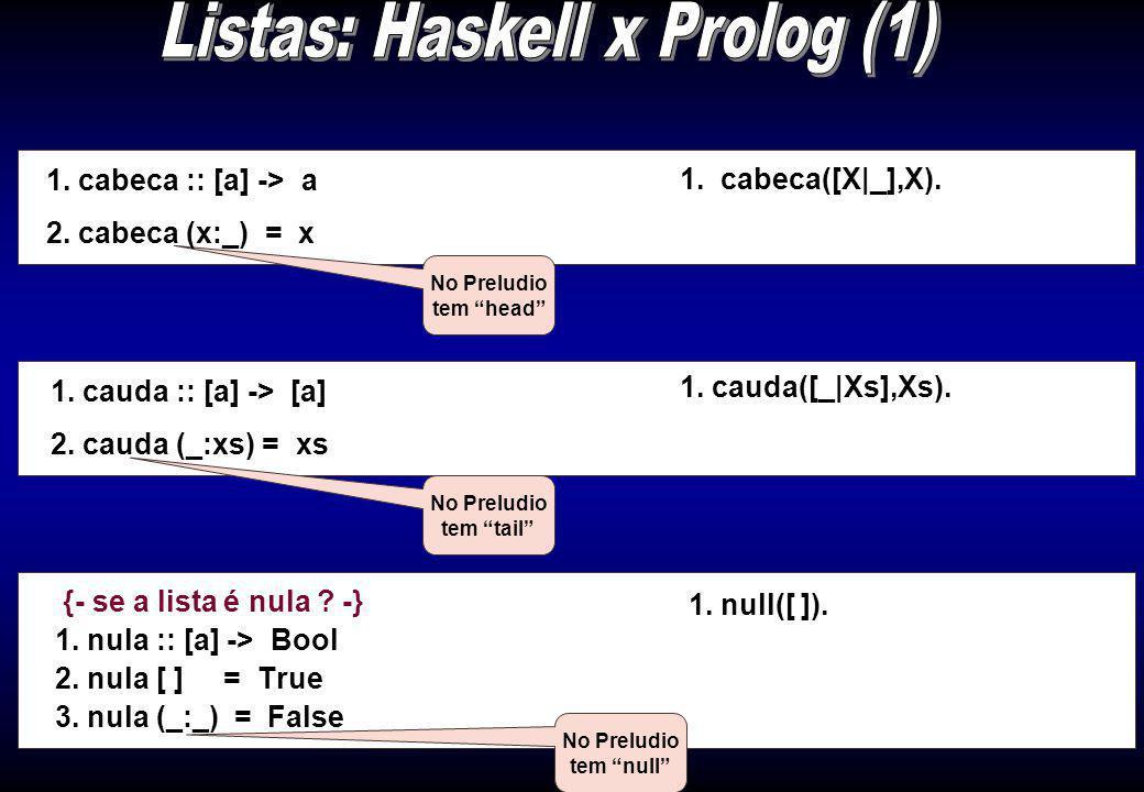 {- se a lista é nula .-} 1. nula :: [a] -> Bool 2.