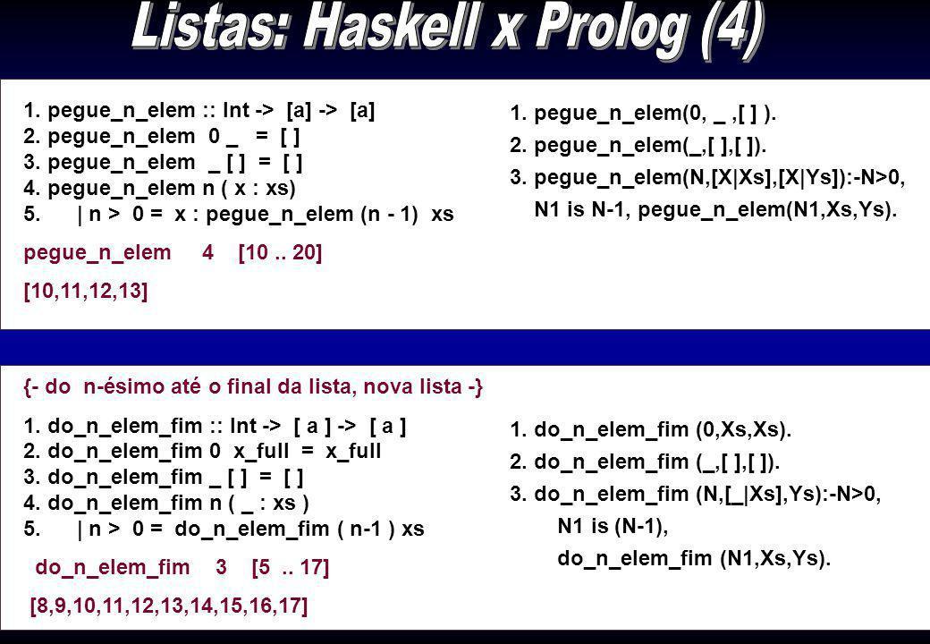 1. comp_lista :: [a] -> Int 2. comp_lista [ ] = 0 3. comp_lista (_:l)=1 + comp_lista l 1. sumList :: ( Num a ) => [ a ] -> a 2. sumList [ ] = 0 3. sum