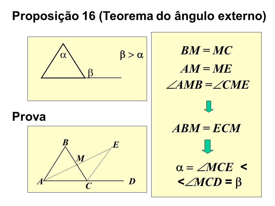 BM = MC Proposição 16 (Teorema do ângulo externo) Prova A B C D E M ABM = ECM MCE < < MCD = AM = ME AMB = CME