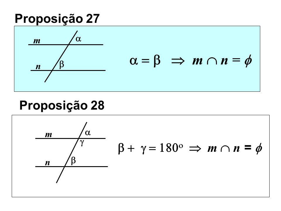 Proposição 27 m n m n = Prova Se e m n teremos um triângulo com um ângulo externo igual a um interno não adjacente. Contradição com Prop. 16 Proposiçã
