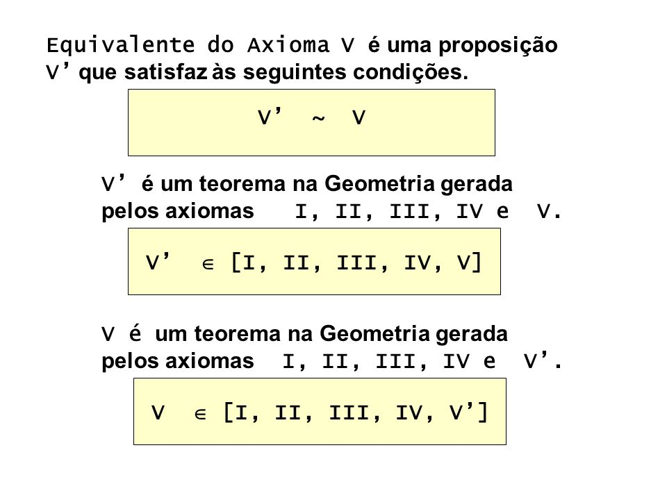 Equivalente do Axioma V é uma proposição V que satisfaz às seguintes condições. V é um teorema na Geometria gerada pelos axiomas I, II, III, IV e V. V