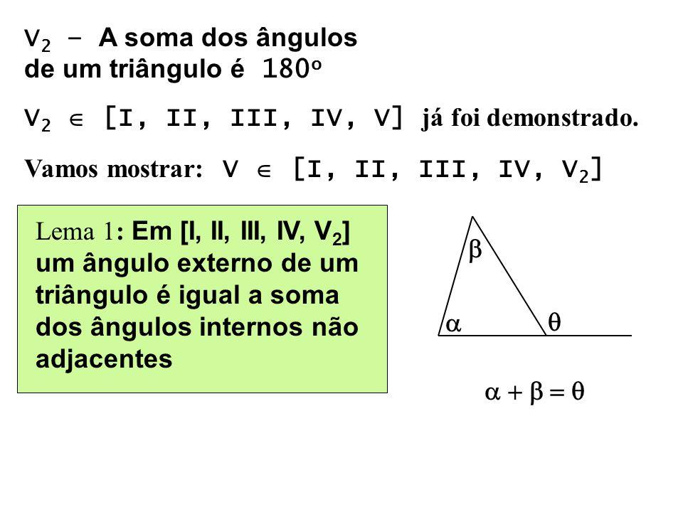 V 2 – A soma dos ângulos de um triângulo é 180 o V 2 [I, II, III, IV, V] já foi demonstrado. Vamos mostrar: V [I, II, III, IV, V 2 ] Lema 1: Em [I, II