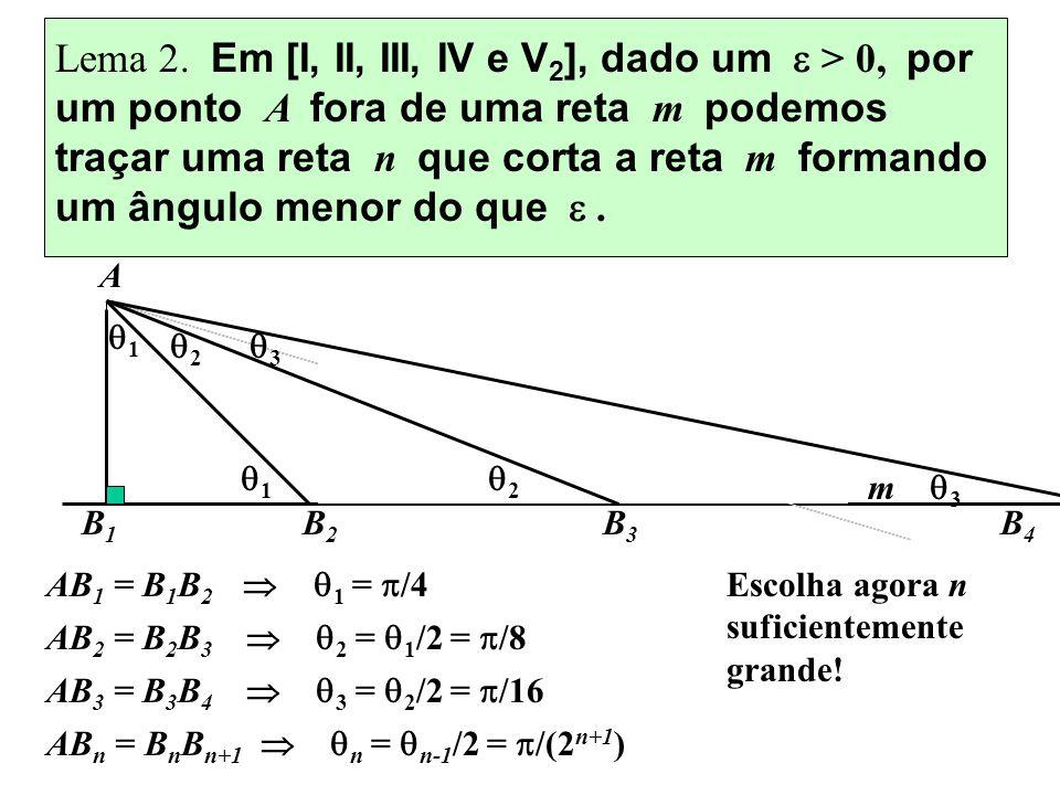 Lema 2. Em [I, II, III, IV e V 2 ], dado um > 0, por um ponto A fora de uma reta m podemos traçar uma reta n que corta a reta m formando um ângulo men