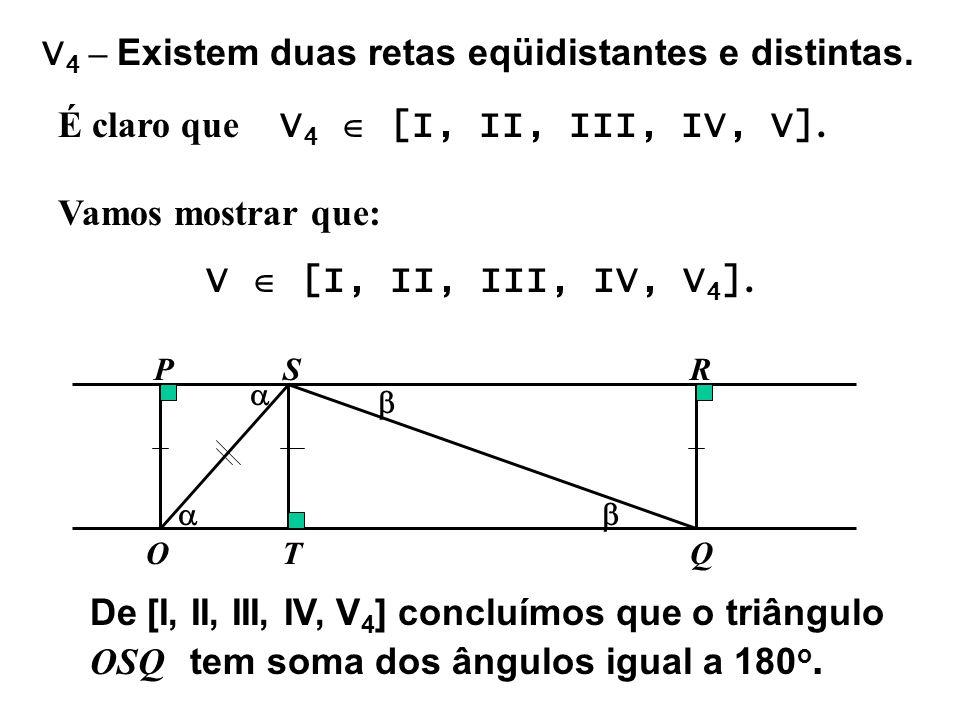 V 4 – Existem duas retas eqüidistantes e distintas. É claro que V 4 [I, II, III, IV, V]. Vamos mostrar que: V [I, II, III, IV, V 4 ]. O P Q RS T De [I