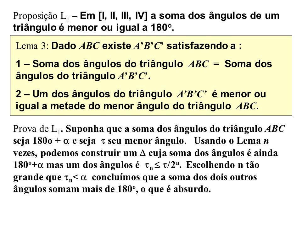 Proposição L 1 – Em [I, II, III, IV] a soma dos ângulos de um triângulo é menor ou igual a 180 o. Lema 3: Dado ABC existe ABC satisfazendo a : 1 – Som