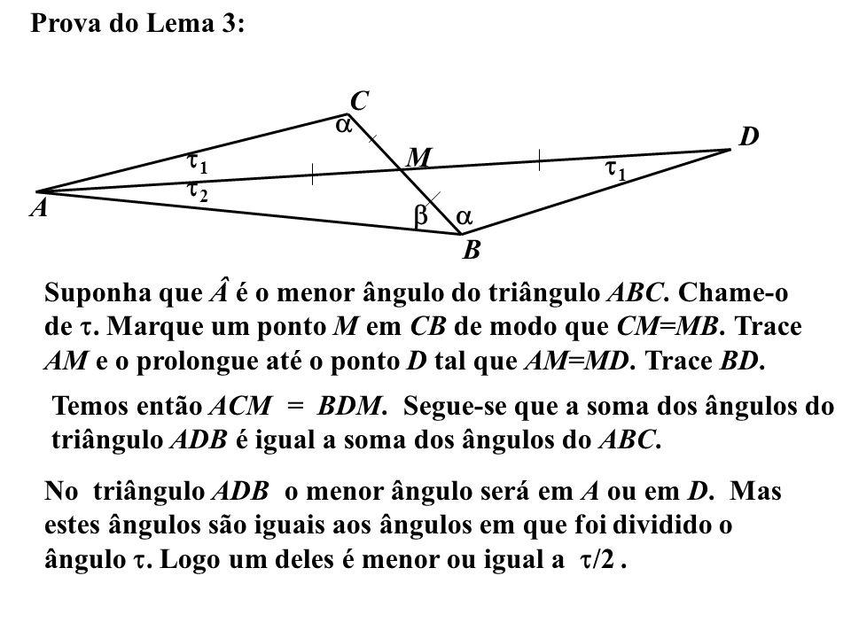Prova do Lema 3: A B C Suponha que é o menor ângulo do triângulo ABC. Chame-o de. Marque um ponto M em CB de modo que CM=MB. Trace AM e o prolongue