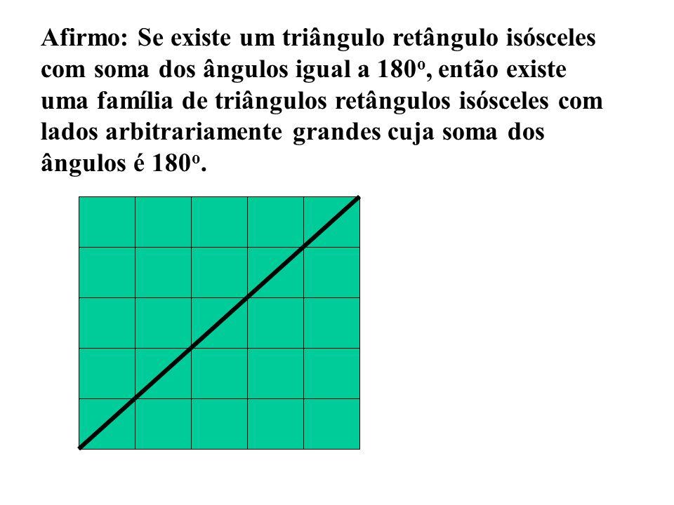 Afirmo: Se existe um triângulo retângulo isósceles com soma dos ângulos igual a 180 o, então existe uma família de triângulos retângulos isósceles com