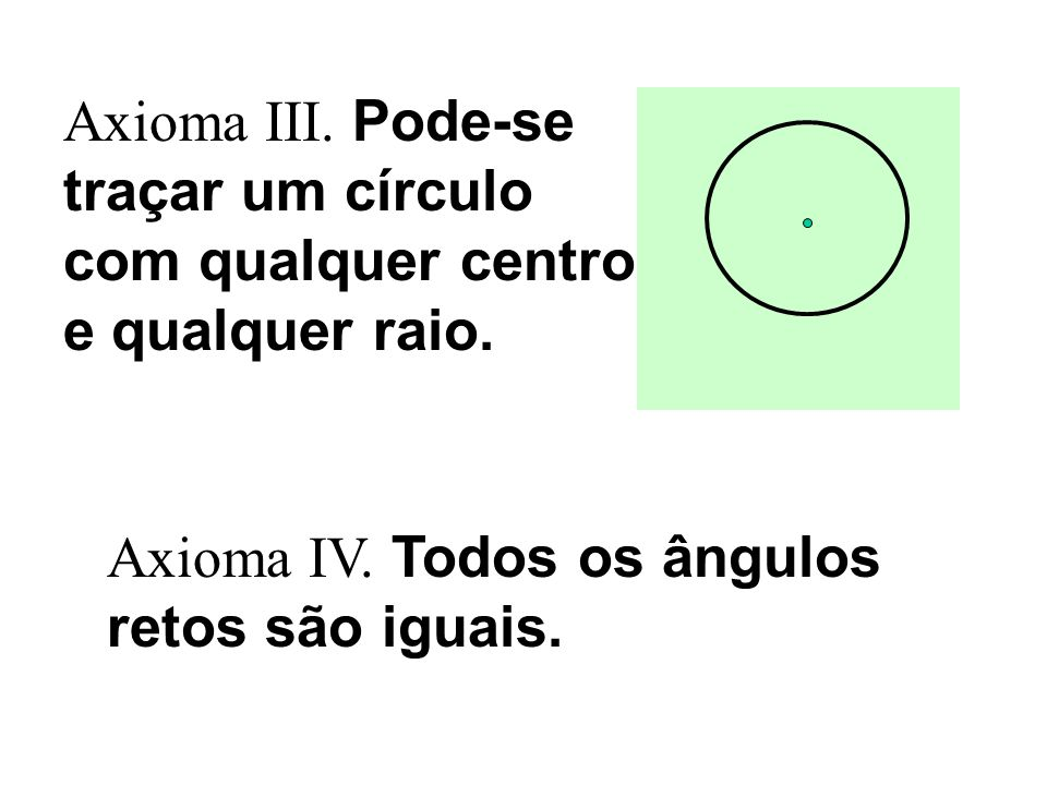 Axioma III. Pode-se traçar um círculo com qualquer centro e qualquer raio. Axioma IV. Todos os ângulos retos são iguais.