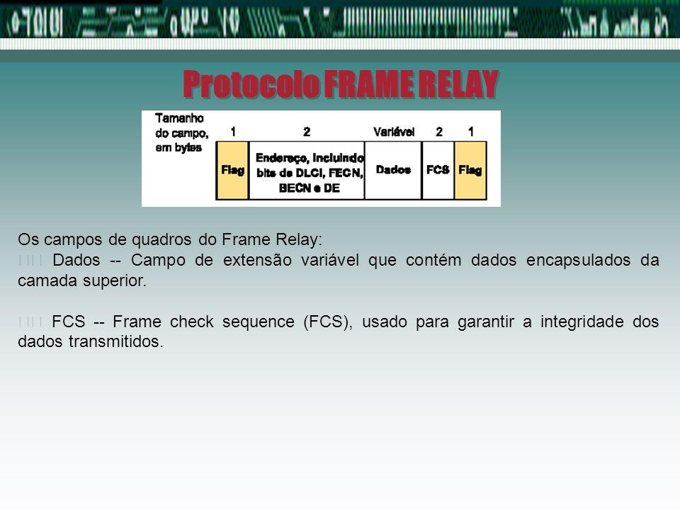 Protocolo FRAME RELAY Os campos de quadros do Frame Relay: Dados -- Campo de extensão variável que contém dados encapsulados da camada superior. FCS -