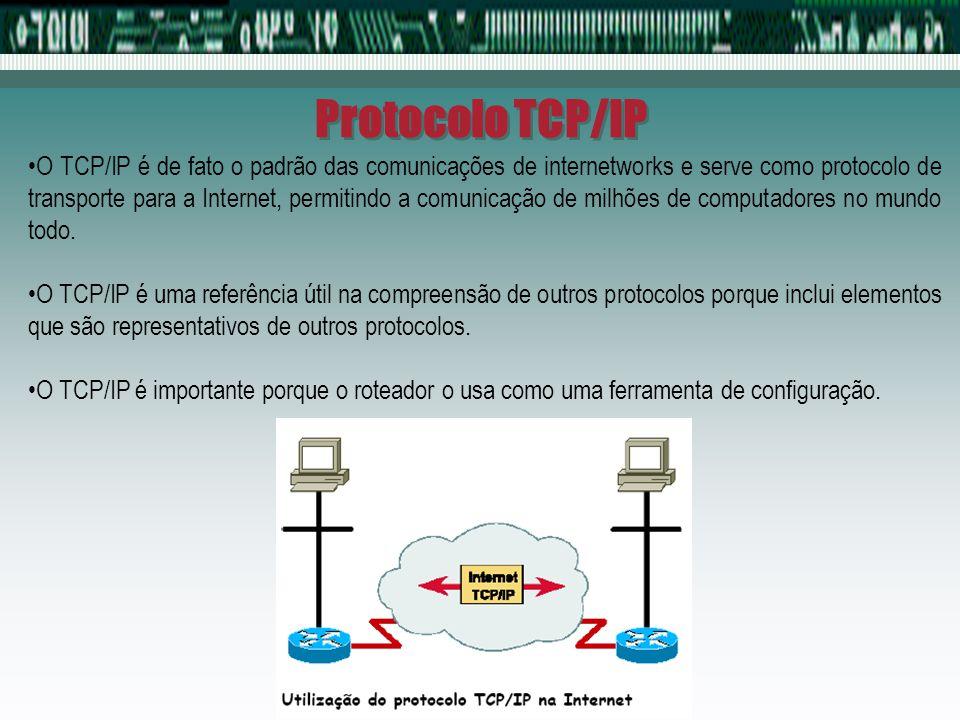 Protocolo TCP/IP O TCP/IP é de fato o padrão das comunicações de internetworks e serve como protocolo de transporte para a Internet, permitindo a comu