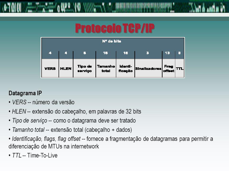 Protocolo TCP/IP Datagrama IP VERS -- número da versão HLEN -- extensão do cabeçalho, em palavras de 32 bits Tipo de serviço -- como o datagrama deve