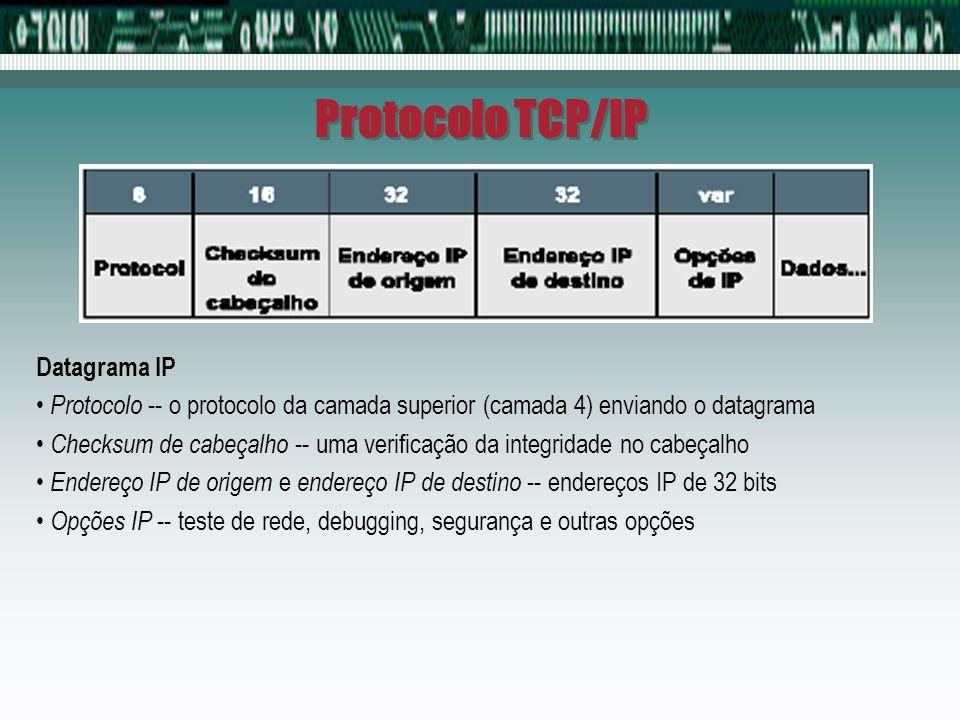 Protocolo TCP/IP Datagrama IP Protocolo -- o protocolo da camada superior (camada 4) enviando o datagrama Checksum de cabeçalho -- uma verificação da