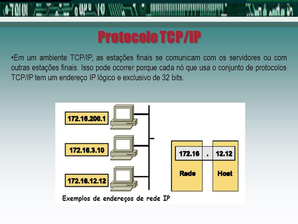 Protocolo TCP/IP Em um ambiente TCP/IP, as estações finais se comunicam com os servidores ou com outras estações finais. Isso pode ocorrer porque cada