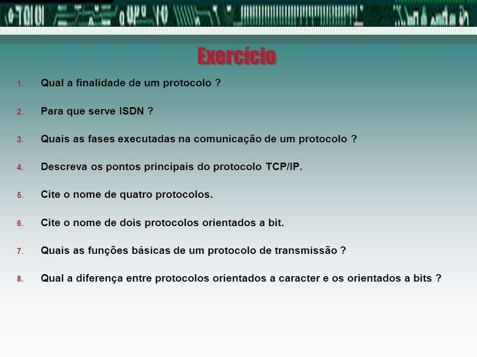 Exercício 1. Qual a finalidade de um protocolo ? 2. Para que serve ISDN ? 3. Quais as fases executadas na comunicação de um protocolo ? 4. Descreva os