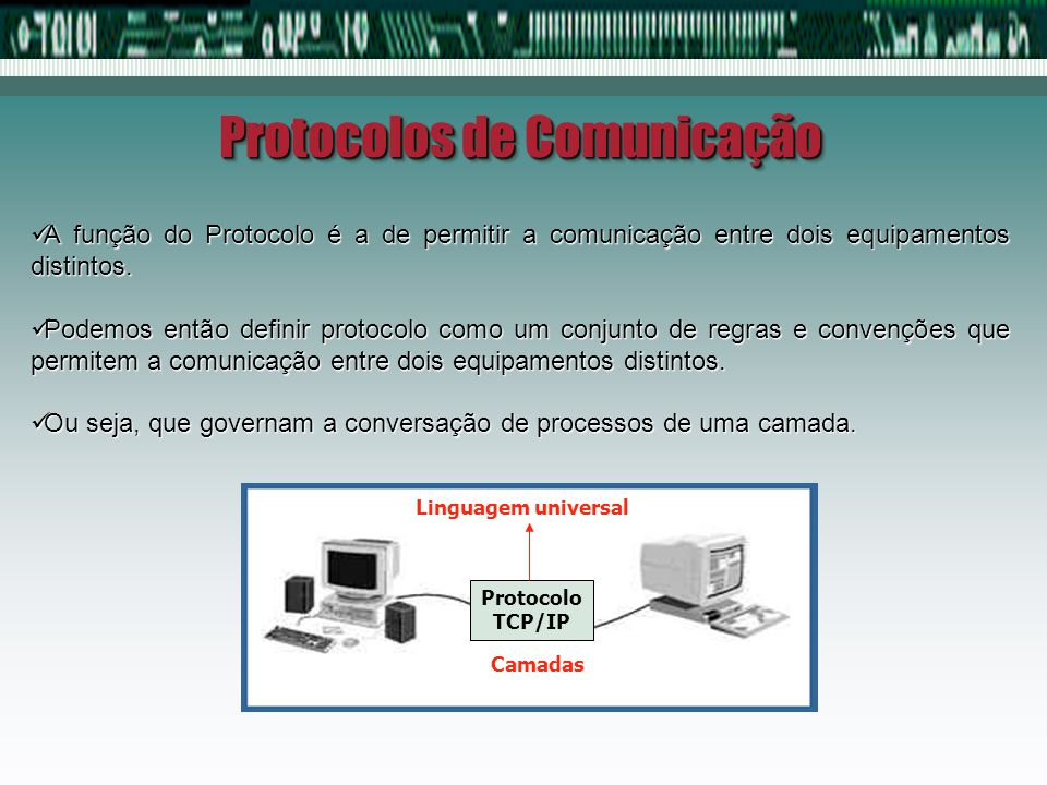 Protocolos de Comunicação A função do Protocolo é a de permitir a comunicação entre dois equipamentos distintos. A função do Protocolo é a de permitir